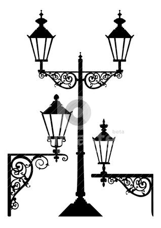 Set of antique street light lamps stock vector.