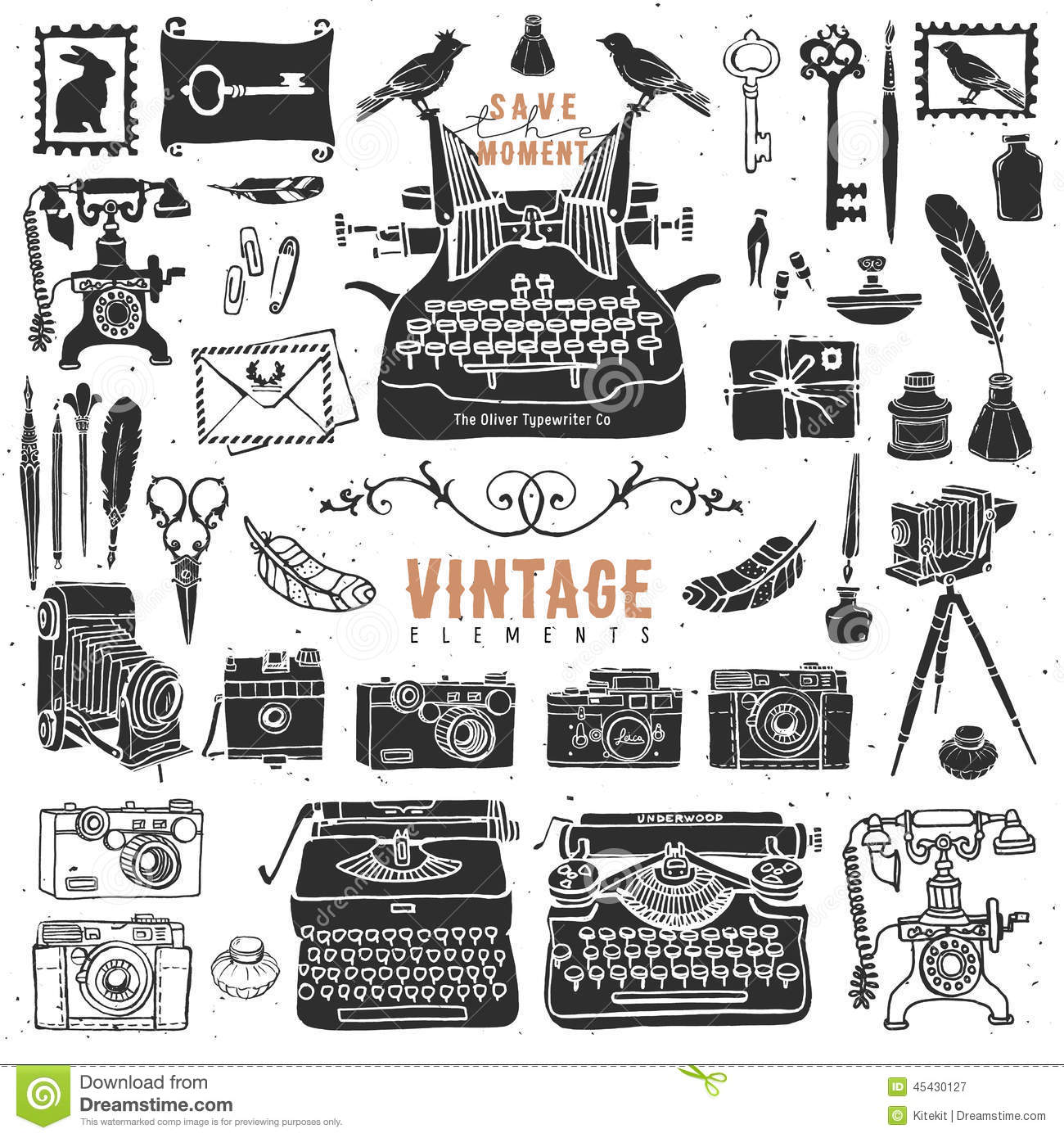 Vintage Retro Old Things Collection. Stock Vector.
