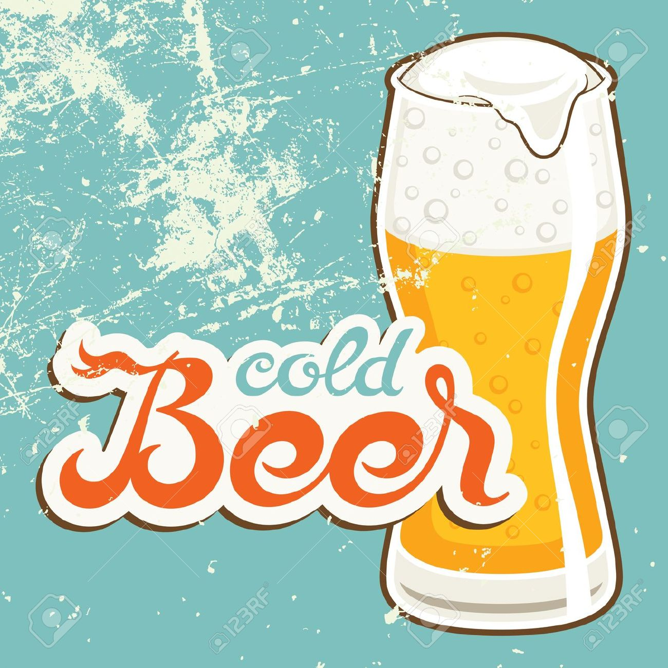 Cold Beer, Vector Illustration In Old Style Royalty Free Cliparts.