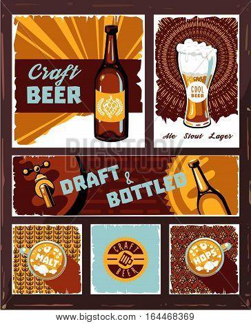 Vintage craft beer banner set vector. Retro draught ale poster.