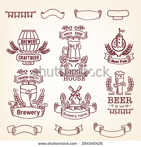 Retro Set Label Beer Old Style Stock Vector 284540423.