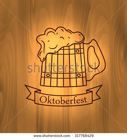 Oktoberfest Illustration, Mug Beer With Foam Scorch On Wooden Desk.