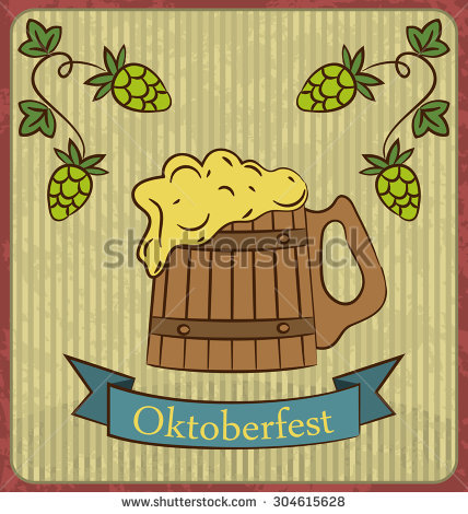 Oktoberfest Banner Wooden Mug Beer With Foam And Hops Branch Old.