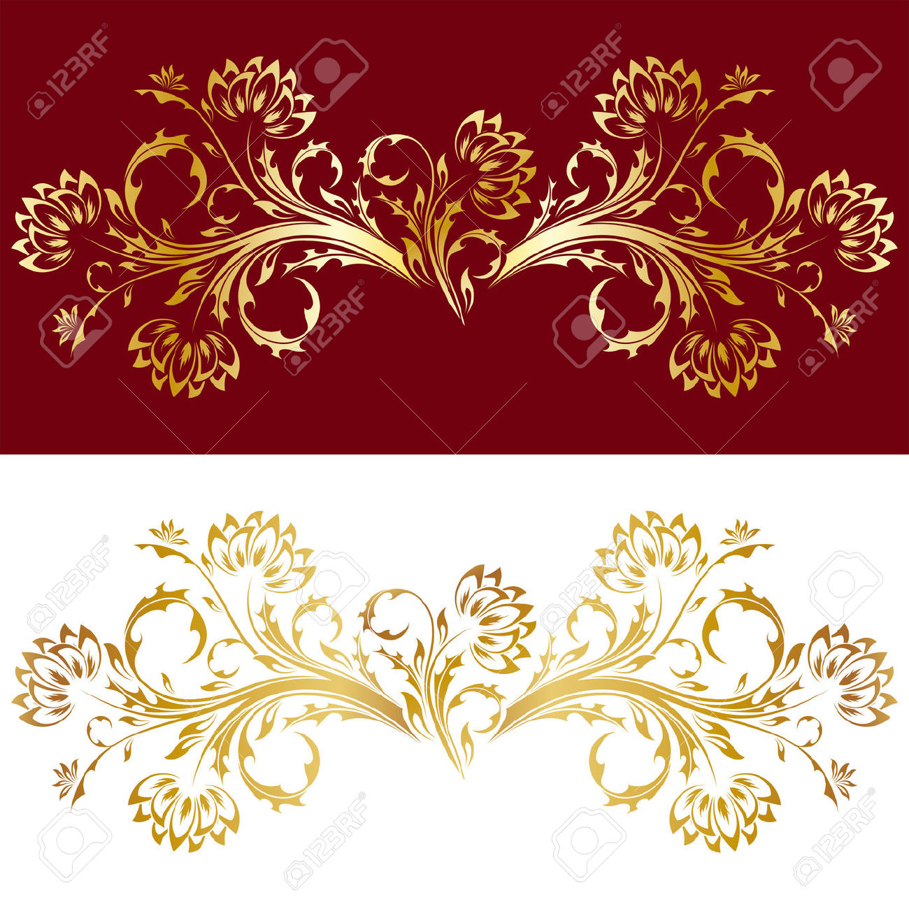 Abstract Old Style Ornament With Flowers In Gold Color Royalty.