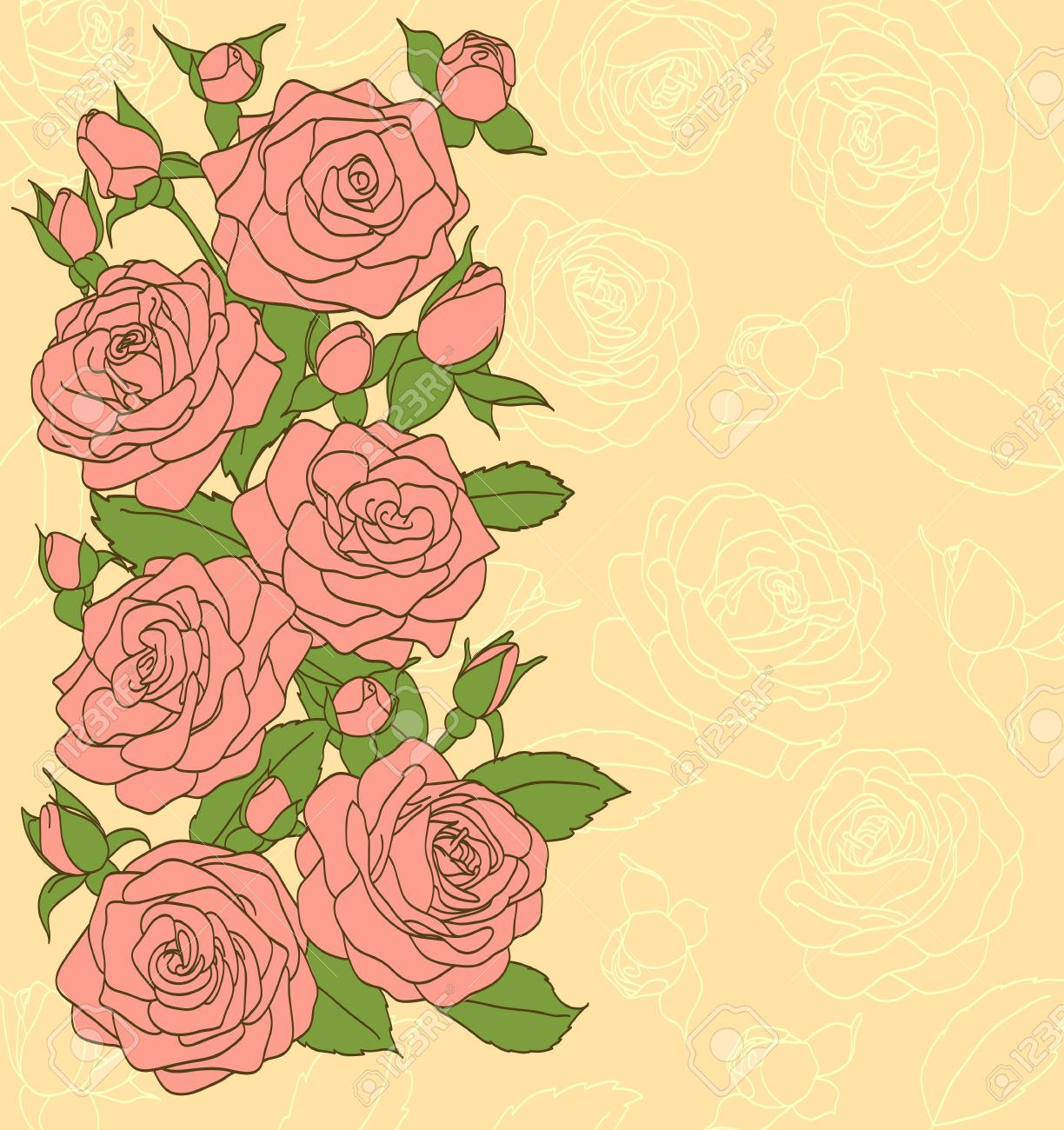 Flowers, Leaves And Buds Of Pink Roses Painted In The Old Style.