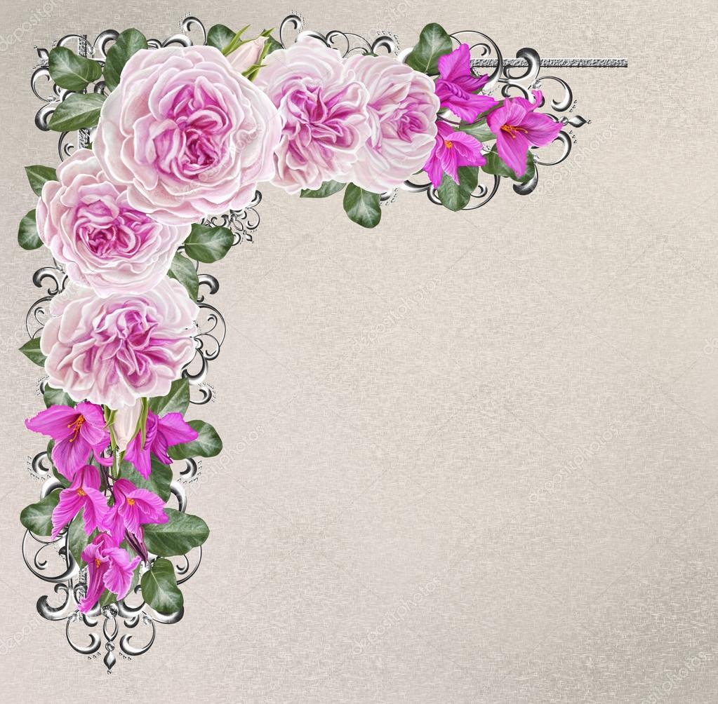 Corner frame Silver weaving. Pastel pink and rose. Garland of.