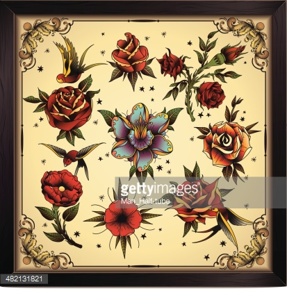Vector flowers in old traditional tattoo style..