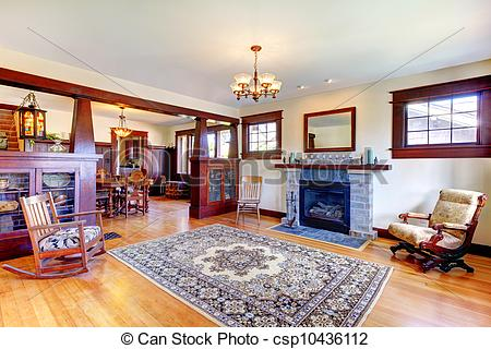 Stock Photography of Beautiful old craftsman style home living.