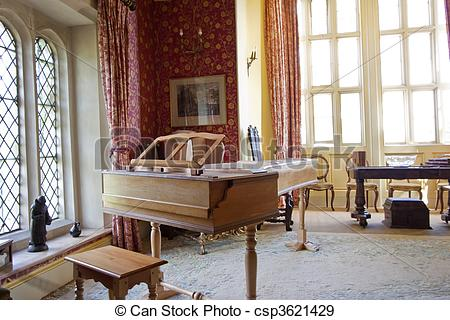 Stock Photographs of piano room.