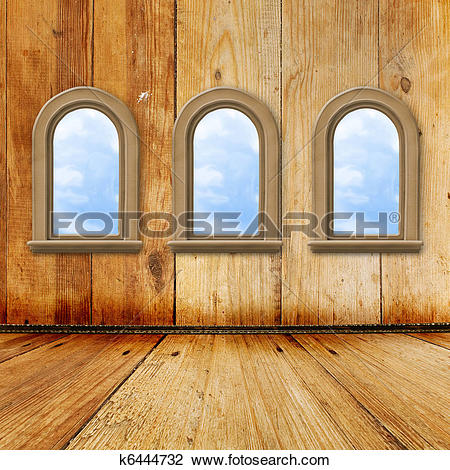 Stock Photo of Old room, grunge interior with windows in style.