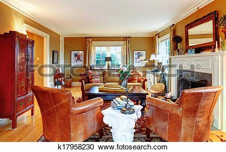 Stock Photography of Charming family room with old style furniture.