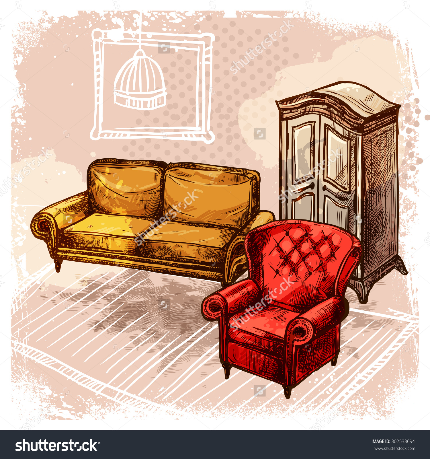 Retro Room Interior With Old Style Sketch Furniture Vector.