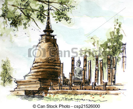 Stock Illustration of thailand ancient temple water color painting.