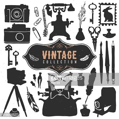 Vintage retro old things collection. Clipart Image.