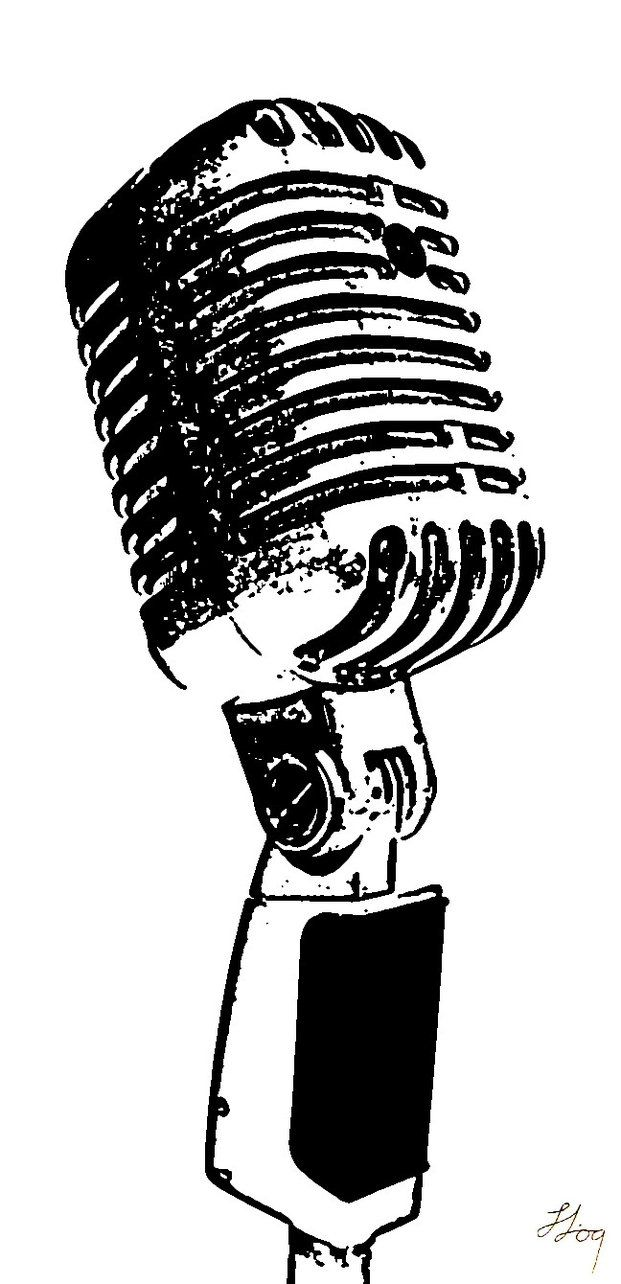 Old Fashioned Microphone Clip Art.