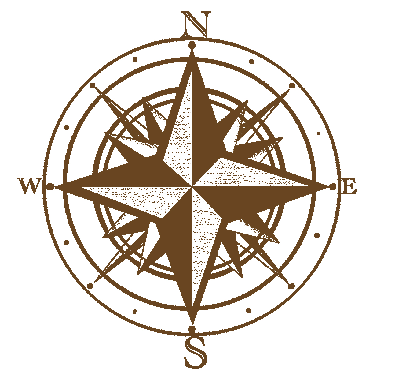 antique compass rose drawing