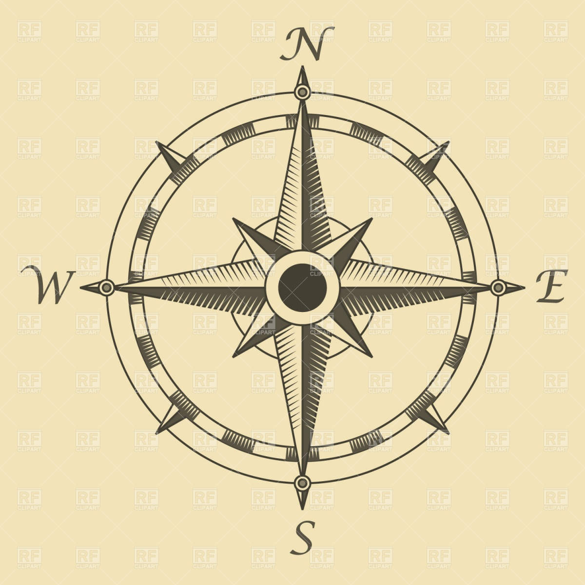 Old time map compass clipart.