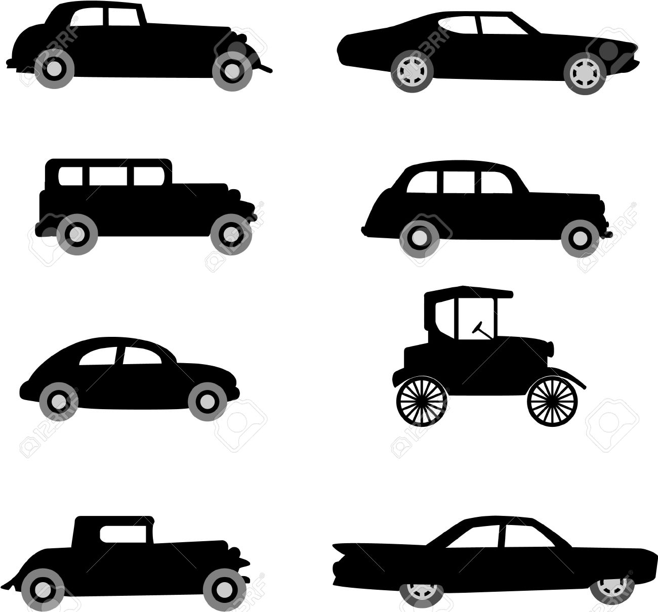 Old Timer Cars Vector Illustration Royalty Free Cliparts, Vectors.