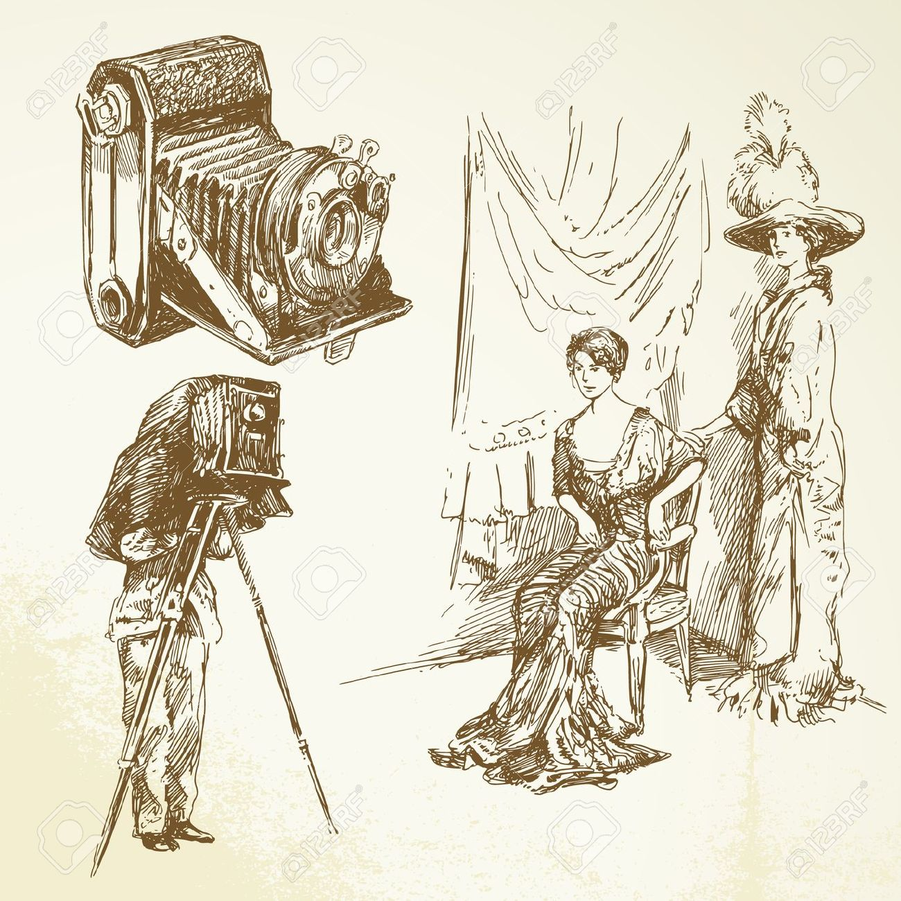 Old woman camera clipart.