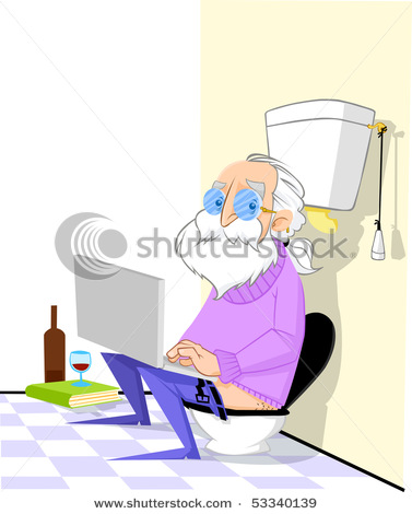 Clip Art Picture Of An Old Man Sitting On the Toilet Working On.