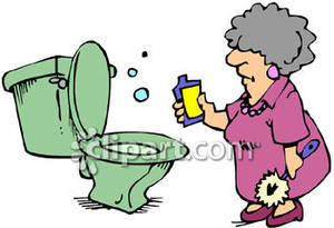Old Lady Cleaning Her Toilet.