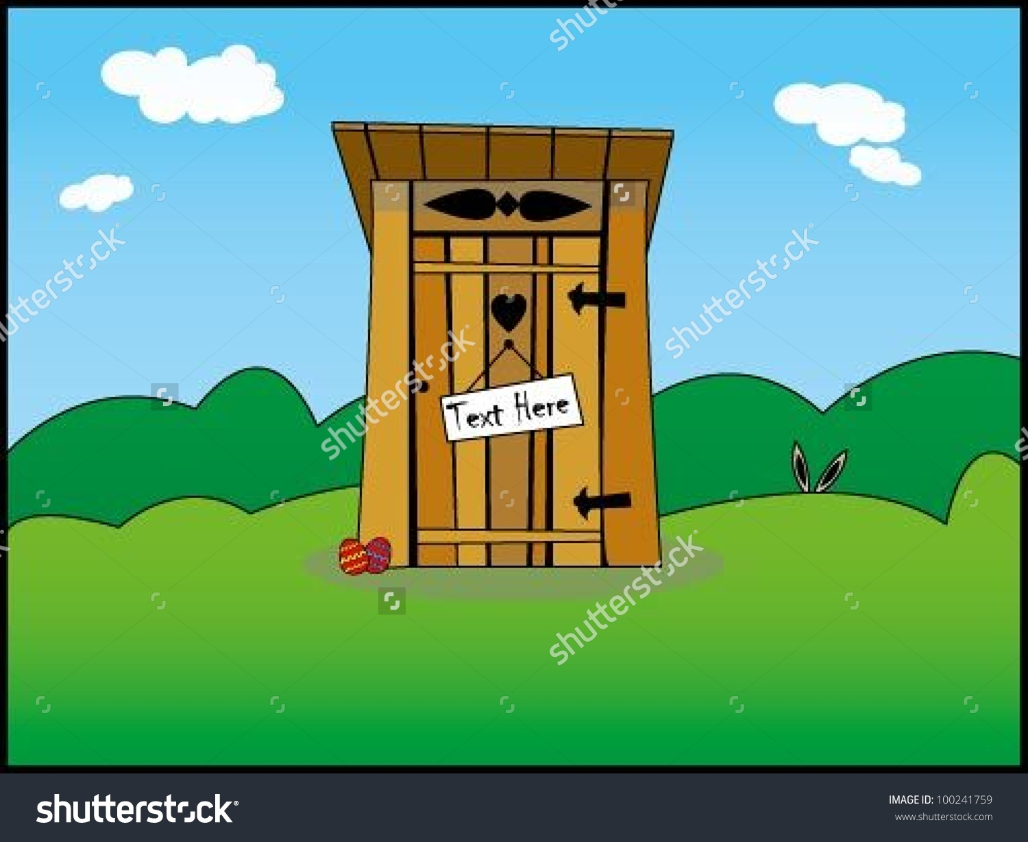 Old Wooden Toilet Illustration.