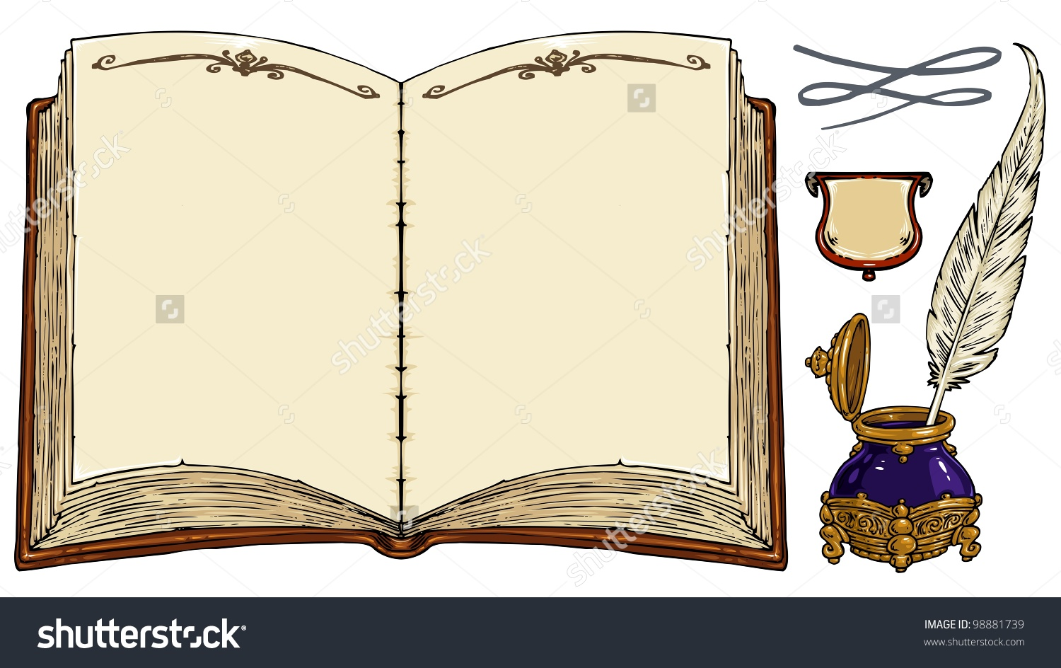 Empty Old Book Old Writing Tools Stock Vector 98881739.