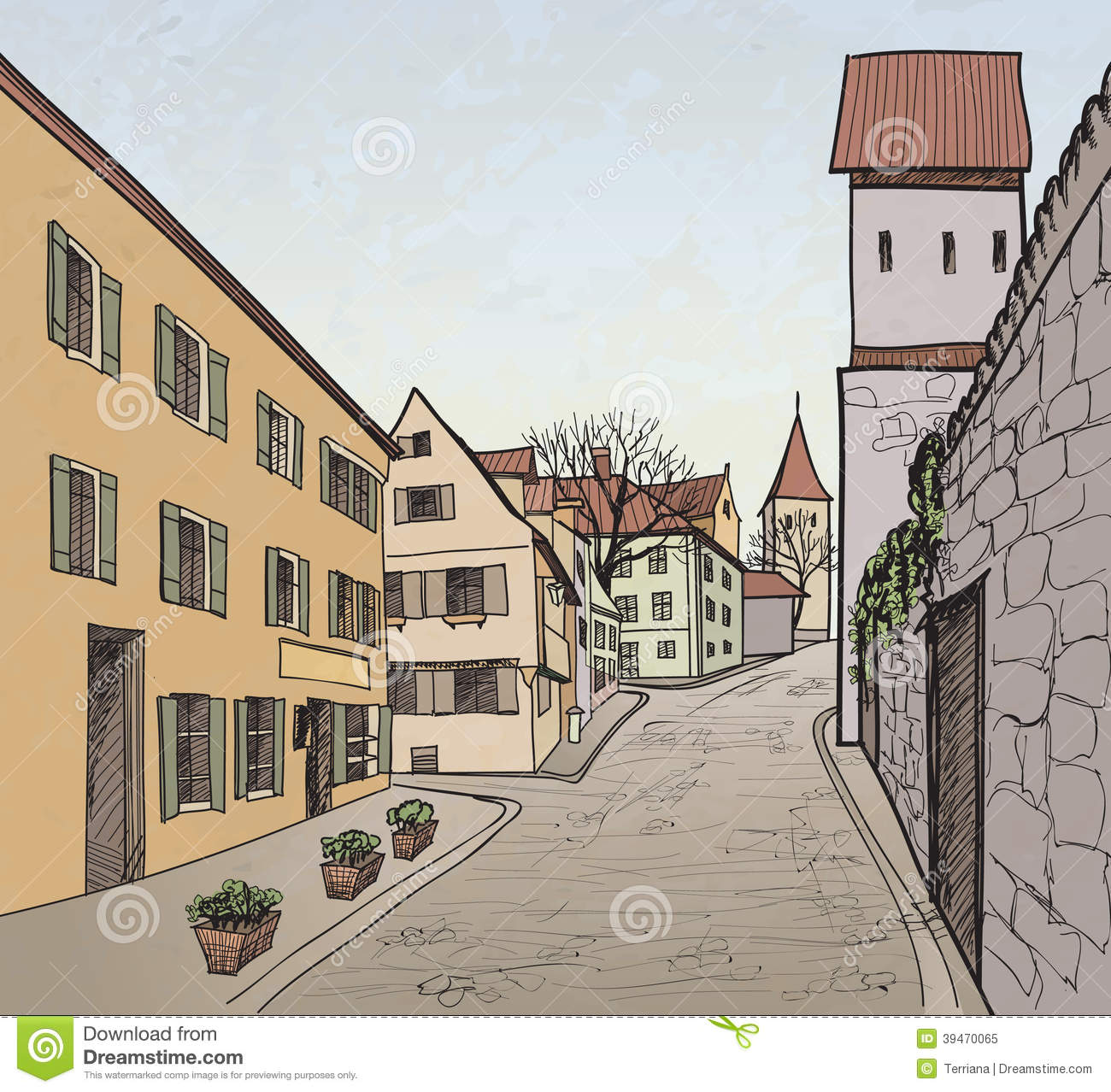 Old Town Cityscape With Street. Sketch Of Historic Stock Vector.