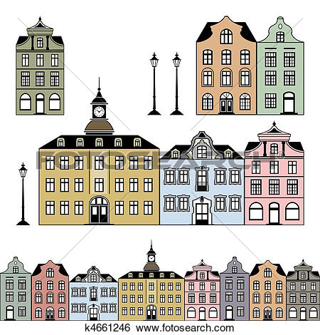 Clip Art of Old town houses Vector illustration k4661246.