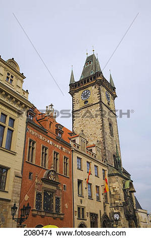 Stock Photo of Old town hall astronomical clock tower; prague.