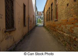 Stock Illustration of Kaunas old town courtyards and lanes.