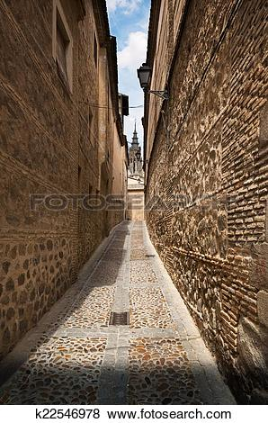 Pictures of Narrow lane in old town of Toledo, Spain k22546978.