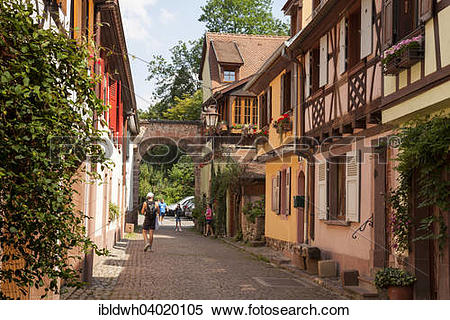 "Stock Image of ""Alley in the old town, Kaysersberg, Alsace, France."