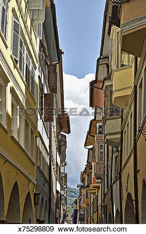Stock Photograph of Narrow old town lane, Bolzano, Alto Adige.