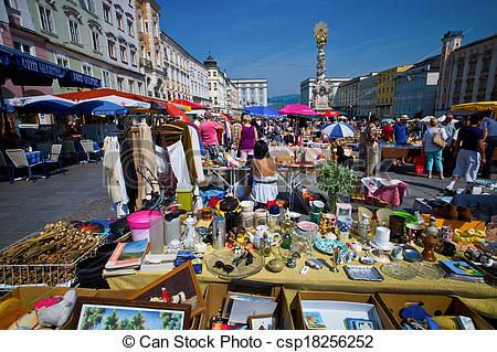 Stock Images of linz, austria, old town, flea market.