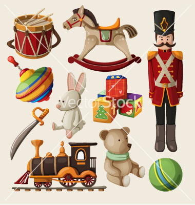Set of colorful vintage christmas toys for kids vector by moonkin.