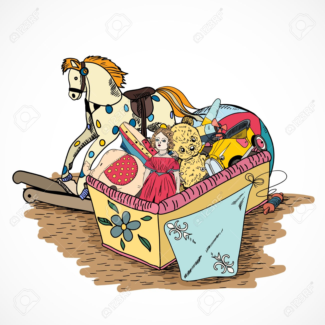 Old Style Kids Toys Sketch Box With Kite Ball Rocking Horse Doll.