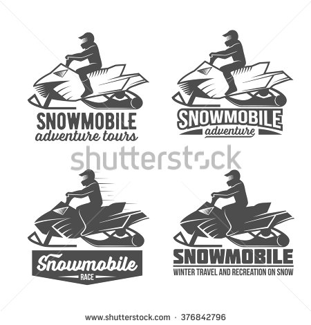 Clipart old man riding snowmobile.