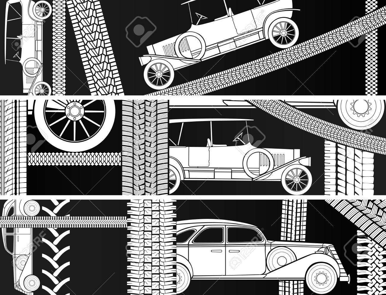 Vector Horizontal Black And White Banners Old Vintage Car With.