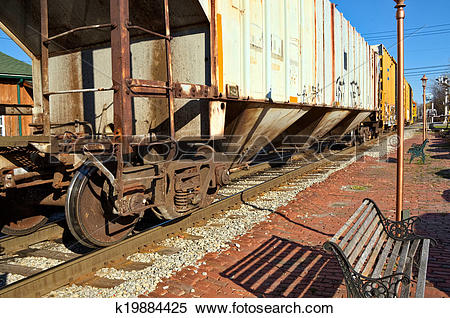Stock Image of Old Train on Tracks k19884425.