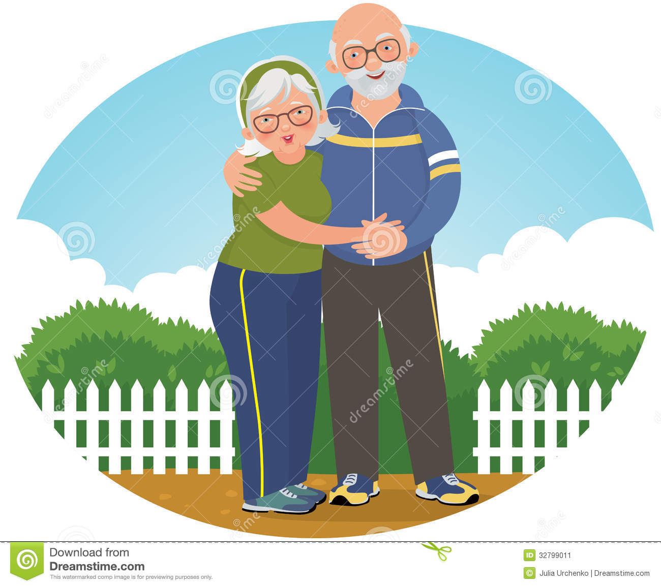 Old Couple In Track Suits Stock Image.