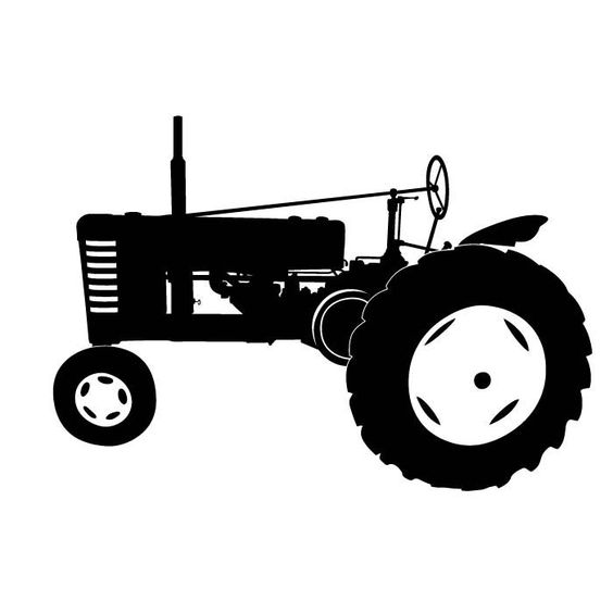 Antique Tractor Clipart Silhouette.