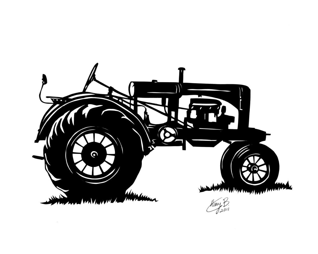 Antique Tractors Clipart.