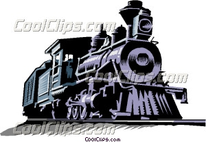 Old steam train Clip Art.