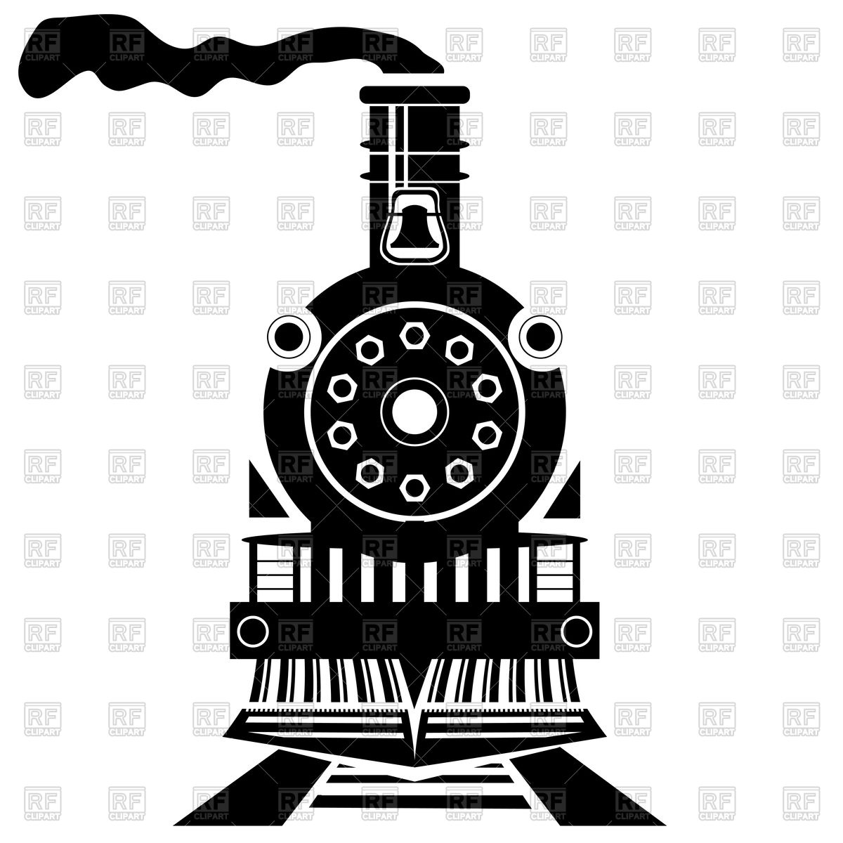 Old train silhouette front view Vector Image #79544.