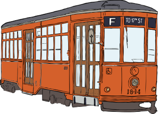 Old model tram clipart.