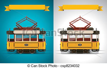 Vectors of Old Tram Trolley Vector csp5895293.