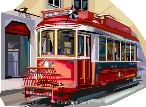 Portugal old tram in Lisbon Royalty Free Vector Clip Art.