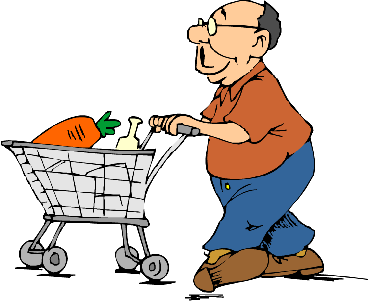 Shopping trolley clipart man.