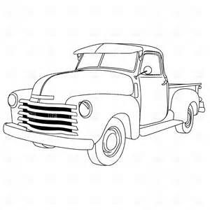Black and White Clip Art Truck Carrying Christmas Tree.